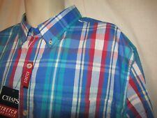 mens chaps by ralph lauren easy care shirt XXL nwt $60 dakota blue plaid