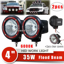 "2 x 4""Inch 35W Xenon HID Off Road ATV/Tractor/Boat Flood Beam Round Lights 6000K"