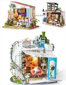 Robotime DIY 3D House Model Kit with LED Light Miniature Woodcraft Gift UK Stock