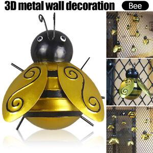 Hanging Bee Wall Decor Metal 3D Bees Wall Art Ornaments Outdoor Garden Yard Lawn