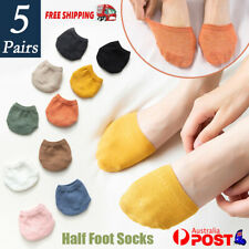 5Pairs Women Half Foot Toe Cover Solid Socks Invisible Summer Breathable Casual