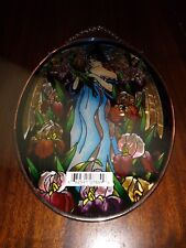 AMIA Window Art Hand Painted Glass Woman in Flower Garden Oval 5.25x7 NEW IN BOX