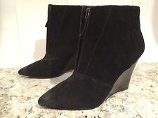 Joe's Ankle Boots Wedge Suede Distressed Zip Pointy Toe Black 7.5 M New $200&up