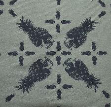 Skulls Print Cotton Knit jersey Fabric 7oz T-Shirt Material Militar Green black