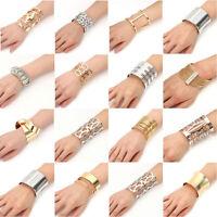 NEW Fashion Women Lots Style Gold Silver Bangle Punk Bracelet Charm Cuff Jewelry