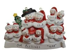 Personalized Snowman Family of 10 Christmas Ornament