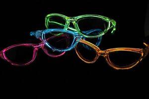 10 EL WIRE NEON LIGHT UP POKER SUNGLASS GLASSES RAVE