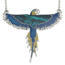 Blue Abalone / Paua Shell & Epoxy Macaw Parrot Pendant Silver Chain Necklace