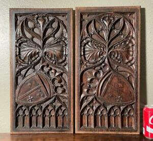 Pair of Nicely Carved Antique Gothic Revival Solid Oak Wood Panels