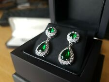 White gold finish pear cut emerald & created diamond droplet earrings free post