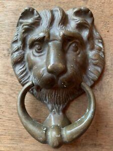 Vintage Brass Lion Face Head Door Knocker