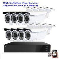 8CH TVI 1080P DVR 5-in-1 3MP Varifocal Zoom 72IR Bullet Security Camera System