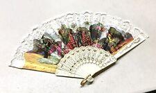 Vintage Ladies Spanish Fan Handheld Folding White Lace 9�