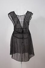 """Size 12 """"Hot Options"""" Black with White Spots Sheer Ladies Top Great Condition!"""