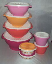 New Tupperware Servalier Bowls Set 8 Serving Nesting Bowls Flowers Pink Orange