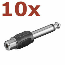 10x Adapter Cinch Buchse auf Klinkenstecker 6,3mm mono Audio Chinch Klinke AUX