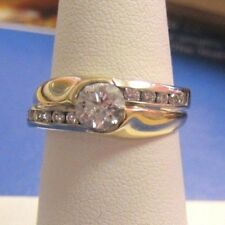 Unique 0.79 tcw Diamond Engagement Ring 14K 2-tone Gold size 6.25 $3275 cert.app