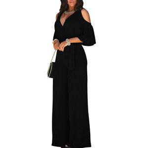 Women Cold Shoulder Jumpsuit Short Sleeve Ruffle V Neck Wide Leg Pants Rompers