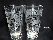 2014 FINAL FOUR NATIONAL CHAMPION UCONN HUSKIES ETCHED 16 oz PINT GLASSES (2)