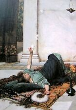 """Oil painting Waterhouse - Portraits Young girl Dolce Far Niente canvas 36"""""""