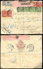 GB KG5 1914 CENSOR to HOLLAND AFRICAN WORLD ENVELOPE LION ILLUSTRATED REGISTERED