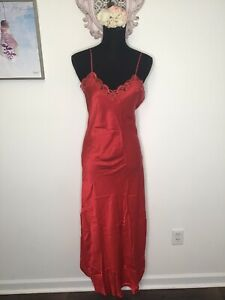 VTG 1990s Fantasies By Morgan Taylor  Long Red Lace Silk Slip Dress Size S Goth