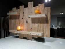 "Rustic wooden floating shelf ""  Tea light /candle holder L@@K ."