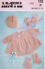 Vintage baby knitting pattern copy Dress bonnet bootees mittens  3 Ply