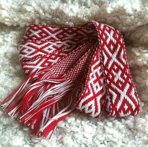 Red belt for dress Red sash belt Soft knitted sash Long Ethnic belt Folk sash