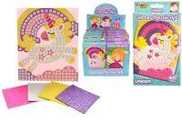 Childrens Craft Kits - GLITTER MOSAIC ART - 4 Designs - Unicorn Princess Castle