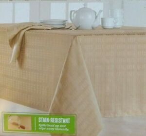 Food Network Ivory 52 x 70 in. Oblong Stain-resistant Micro-Fiber Tablecloth NEW