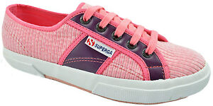 $75 SUPERGA Pink Purple Corduroy Leather Sneakers Women Shoes NEW COLLECTION