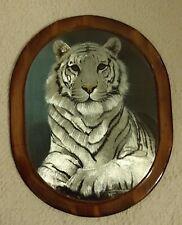 Vintage Metallic Foil Art Holographic Picture White Tiger on Wooden Plaque