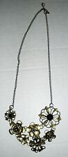 Gold and Black Metal Bib Necklace with Flowers