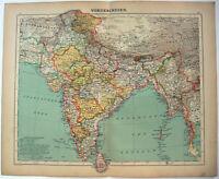 India - Original 1900 Map by Carl Wolf. Ceylon Burma. Antique