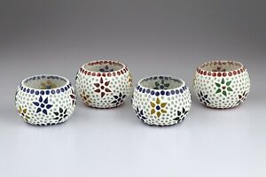 MOSAIC GLASS CANDLE HOLDER SET OF 4