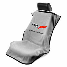 2005-2013 CHEVROLET CORVETTE C6 GRAY SEAT TOWEL ARMOUR COVER FLAG LOGO NEW