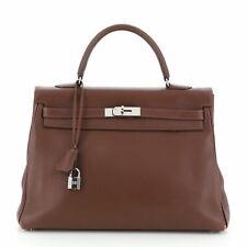 Hermes Kelly Handbag Brown Evergrain with Palladium Hardware 35