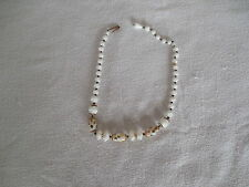 "Vintage West Germany Milk glass beaded necklace/choker 16"" 1950's"