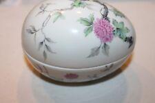 Vintage Limoges France pink Flower glass Trinket Box / Egg shape 4.5 inches