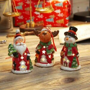 Set of 3 Led Hanging Christmas Tree Ornaments Santa Reindeer Snowman Light Up