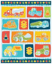 "Big Trucks Construction Traffic Boy Toys blue 100% cotton fabric panel 35"" X 44"""