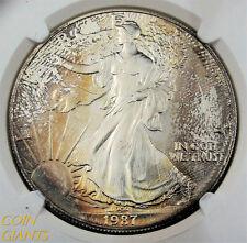 1987 S$1 Silver Eagle Rainbow Toned NGC MS69 BU Bullion US Coin Early Year ASE