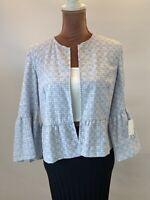Zara Embroidered Crochet Floral Boho Retro 3/4 Sleeve Blue Blazer Jacket Size M