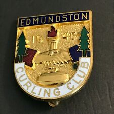 New listing VINTAGE CURLING PIN EDMUNDSTON CURLING CLUB 1945 (Birks written on back)