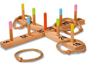 EICHHORN 100004505 Outdoor Ringwurfspiel aus Holz + 5 Wurfringen Kinderspielzeug