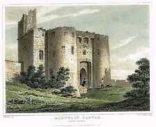 """""""KIDWELLY CASTLE, CAEMARTHANSHIRE"""" - Hand-Colorerd Engraving -1833"""