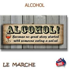 "🍺 ""ALCOHOL"" - ""No Great Story"" BAR Plaque / Sign (FREE POST) 🍺"