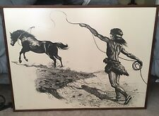 Rare Vtg Gregory Perillo Native American Lithograph Framed Signed The Prize 3/80