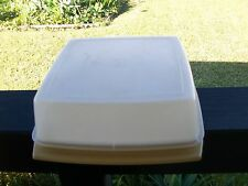 vintage tupperware square cake taker server harvest gold base